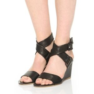 rag&bone black leather wedges